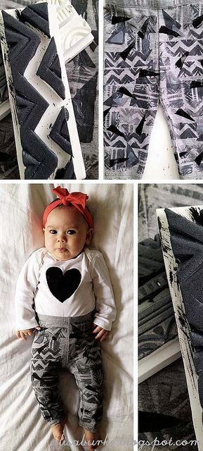 DIY geometric baby pants and heart top / swoon!Awesome Diy, Baby Style, Prints Legs, Babies Clothes, Baby Clothing, Baby Outfit, Puff Painting, Baby Fashion, Diy Baby Legs
