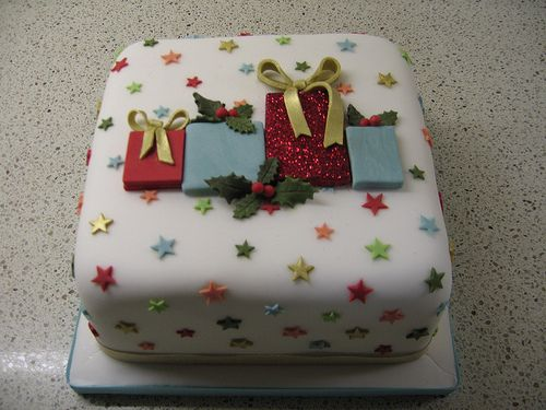 Christmas present cake. Love the little stars.