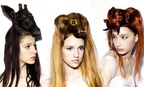 動物モチーフのヘアスタイル。