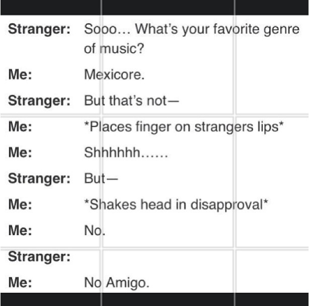 Haha this though! I will definitely be doing this the next time someone asks me what type of music I like