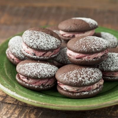 Chocolate Whoopie Pies with blackberry/vanilla cream