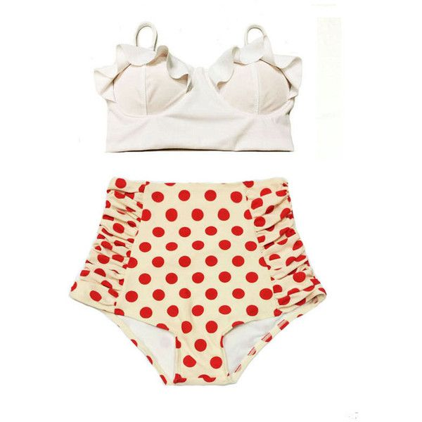 White Midkini Midkinis Top and Polka Dot Dots Vintage Retro High... ($40) ❤ liked on Polyvore featuring swimwear, bikinis, light pink, women's clothing, high waisted bikini, high waisted retro bathing suits, swimsuits two piece, vintage high waisted bathing suits and retro high waisted swimsuits