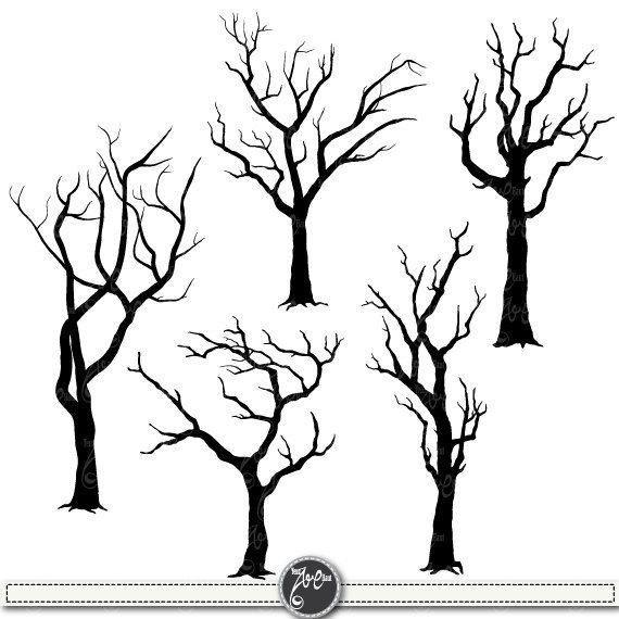 """Tree Silhouettes Clipart """"Tree SILHOUETTES"""" clip art pack,Tree Branchs,Branchs,Silhouettes,Branch,Scrapbook, Instant Download Sh002"""