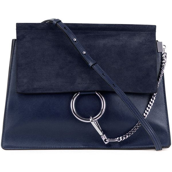Chloe Faye Medium Flap Suede/Leather Shoulder Bag (£1,365) ❤ liked on Polyvore featuring bags, handbags, shoulder bags, accessories, purses, navy, blue leather purse, leather shoulder handbags, blue leather handbag and navy blue purse