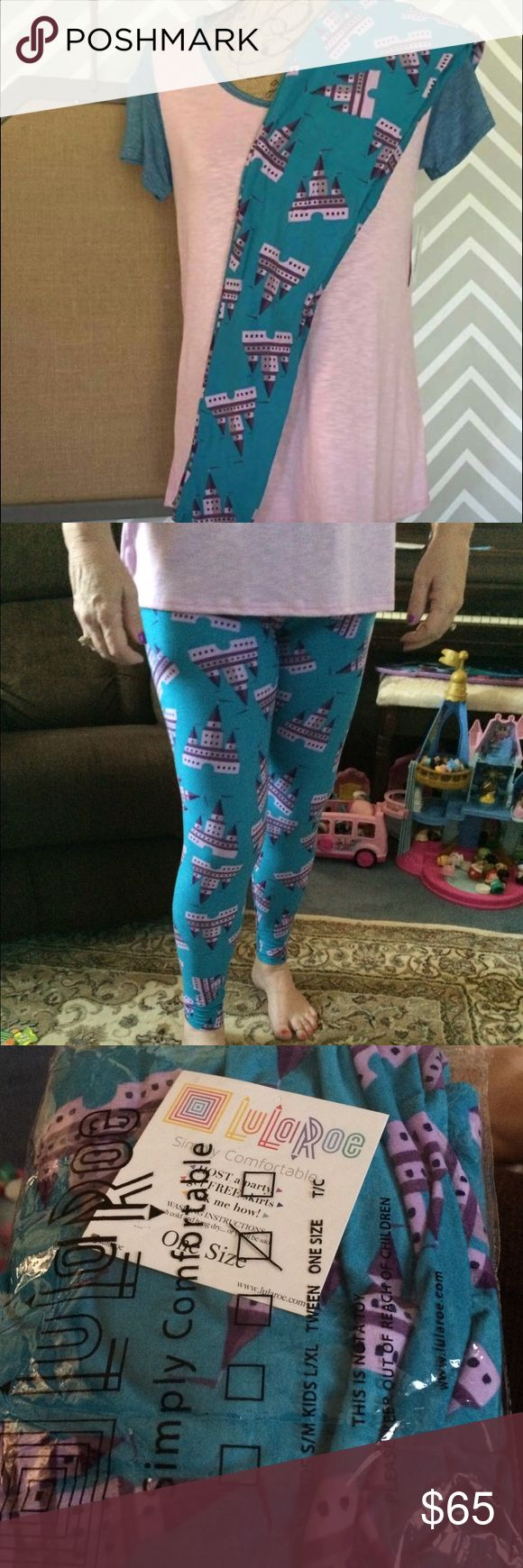 BNWT Lularoe castle leggings Brand new with tag Lularoe Disney castle leggings. Teal with light and dark purple castles. A must for all Disney lovers!! LuLaRoe Pants Leggings