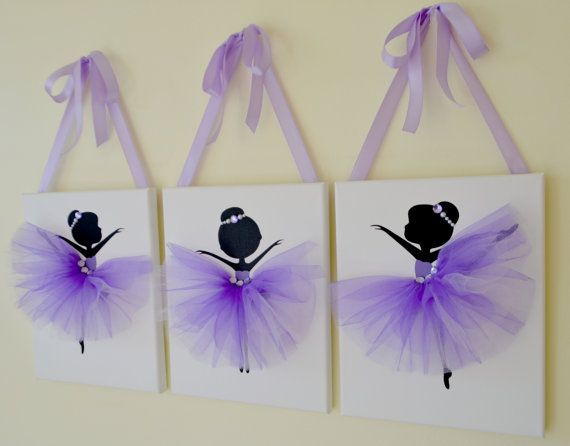 Tutu Canvases. Ballerina Wall art. Purple, lavender and white nursery.  Nursery wall decor.