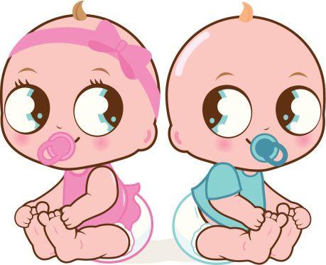Mignon bébé fille et garçon - Illustration vectorielle