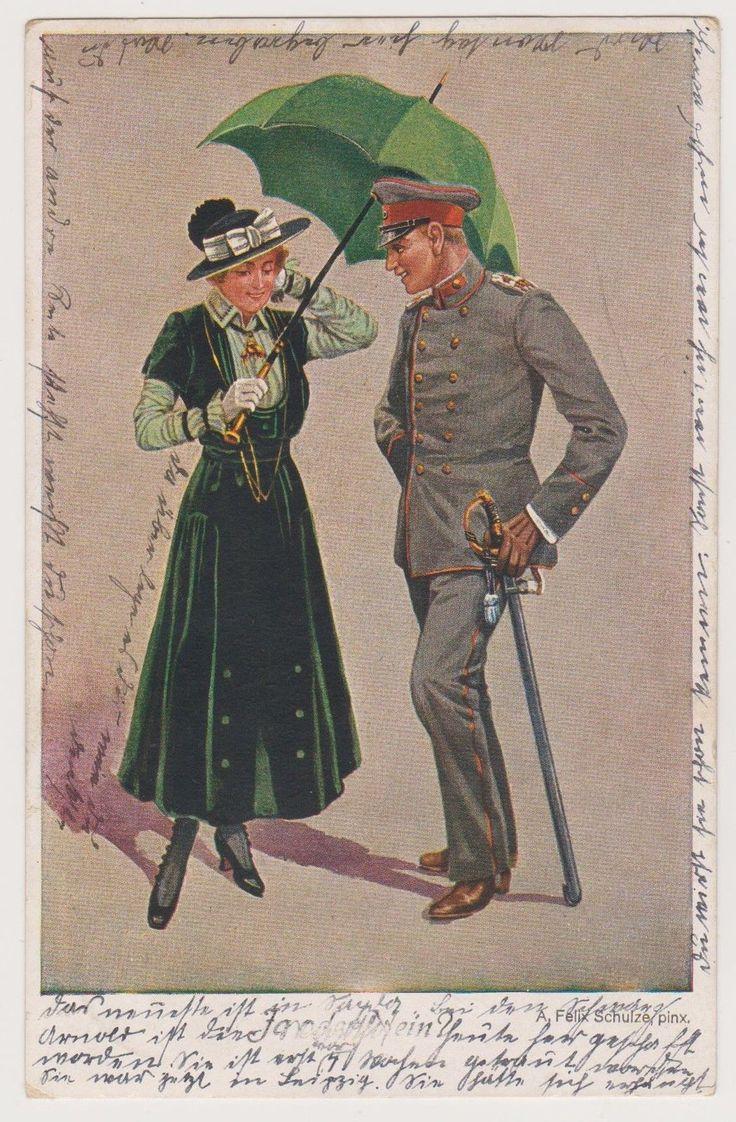 Ak, Deutscher Soldat, Feldgrau, feine Dame mit Schirm, F. Schulze, Sayda, WWI