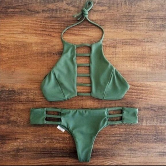 Strappy cheeky bikini lace up green thong Brand new :) Swim Bikinis