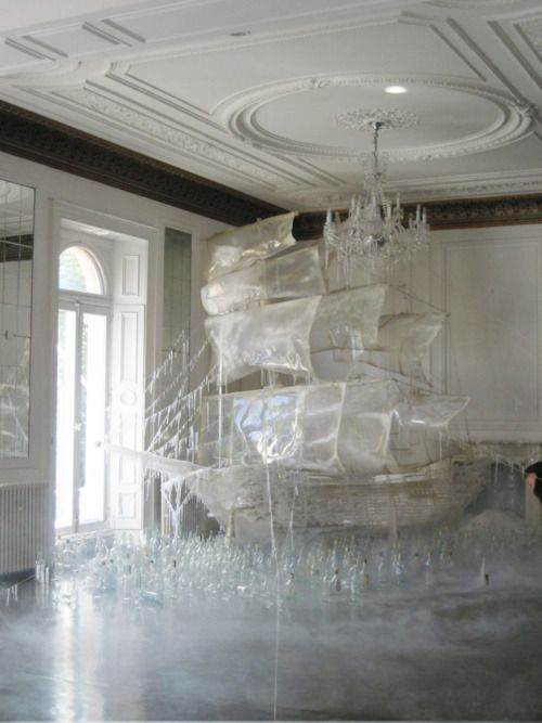 Ice ship sculpture created by set designer and art director Rhea Thierstein | Shot by Tim Walker