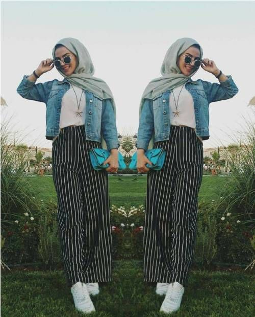 striped palazzo pants-How to wear stripes with hijab – Just Trendy Girls