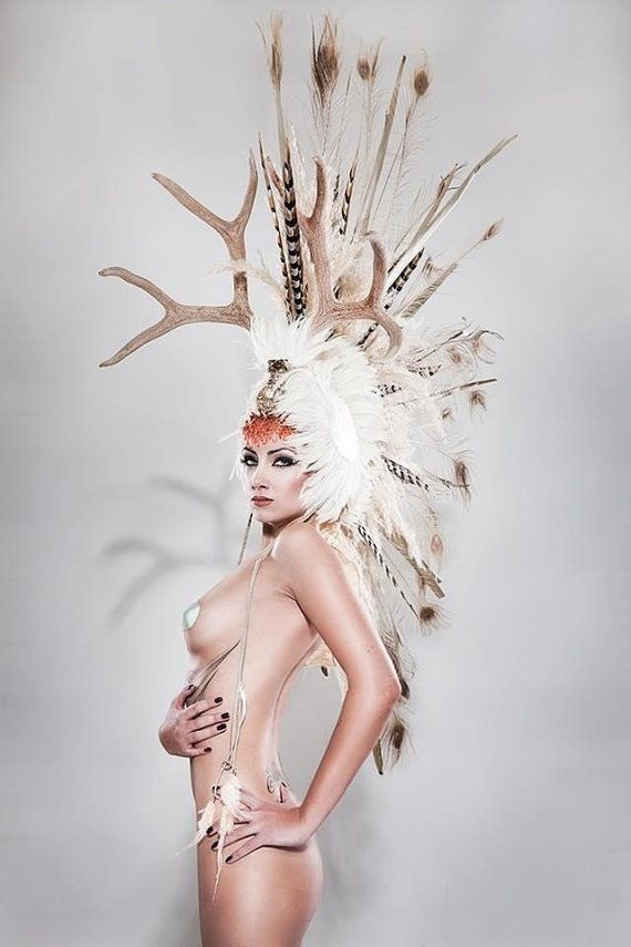 Mohawk headdress with antlers
