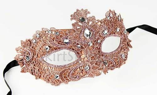 Venetian Mask Brocade Crystals Masquerade Crystals Copper Pink Costume Ball Prom | eBay