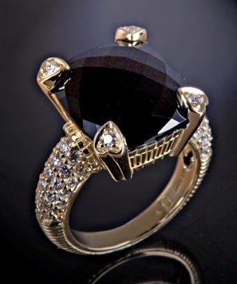 Judith Ripka - black onyx and pave diamond 'Lola' ring