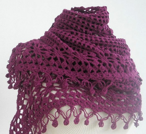 Bamboo Shawl Burgundy Crocheted Lace Wrap Spring by filofashion, via Flickr