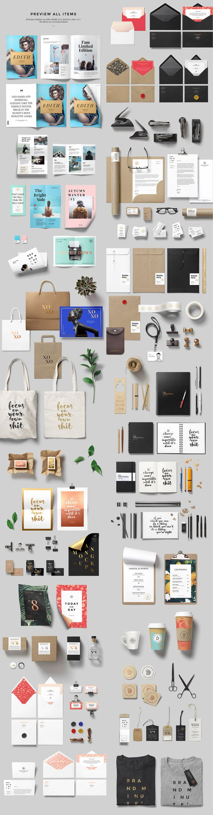 Preview of all included items and branding mockups.