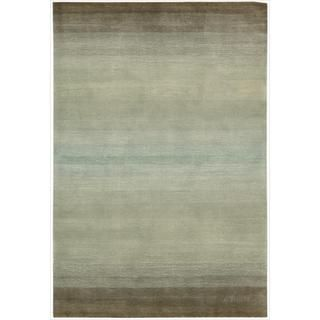 @Overstock - Inspired by the mysterious and muted hues of watercolor paintings this dreamy handcrafted transitional rug shimmers and shines in a sea-inspired palette of blues, grays and green.http://www.overstock.com/Home-Garden/Hand-tufted-Watercolor-Cosmopolitan-Nature-Rug-5-x-76/6964811/product.html?CID=214117 $203.99