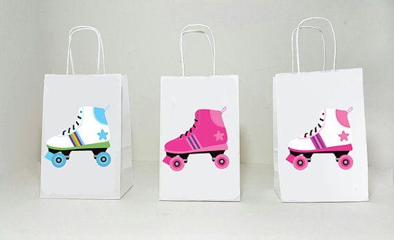 Patin à roulettes sacs-cadeaux surprises sacs, sac de faveur de patin à roulettes, patin à roulettes - Roller Skating anniversaire - anniversaire de patin à roulettes, 80