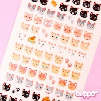 Funny Sticker World tarrat - Kawaii Neko - Kawaii tarrat - Paperitavara | Blippo Kawaii Shop
