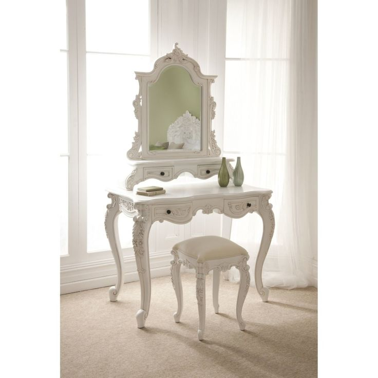 Furniture. carved white wooden dressing tables with mirror mixed with stool in fron of white stained wooden frame glass window with white curtain. Glamorous Makeup Table With Mirror Design For Create Awesome Room Decor