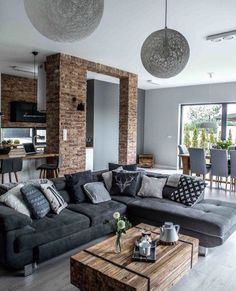 decor living room sofa Scandinavian design gray cushion pillows comfort brick wall