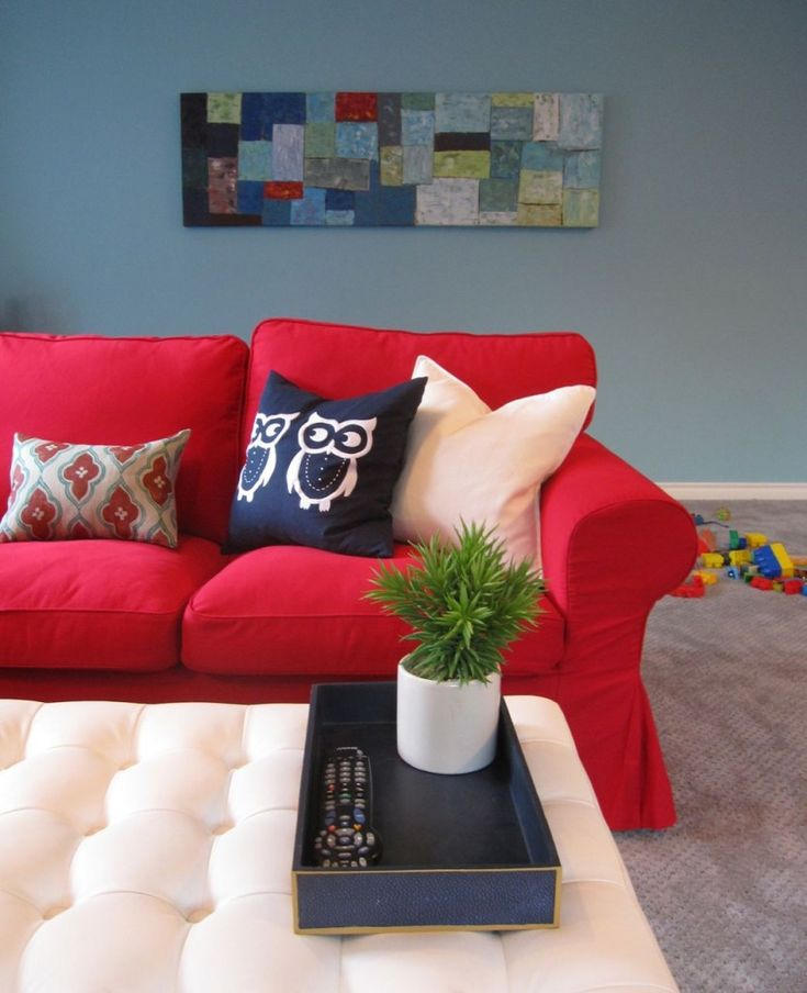 Elizabeth's Turquoise & Red Family Room: Before & After | Maria Killam