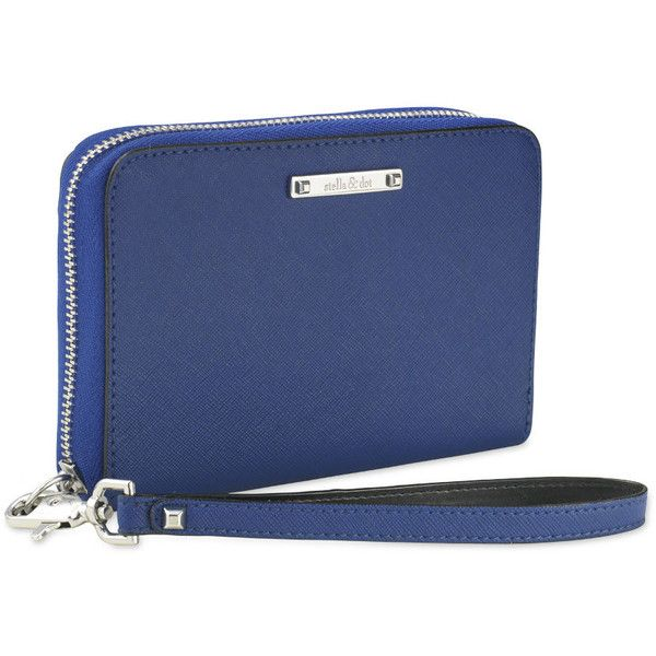 Stella & Dot Chelsea Tech Wallet - Cobalt (£41) ❤ liked on Polyvore featuring bags, wallets, leopard print wallet, vegan wallet, faux leather wallet, leopard print bag and stripe wallet