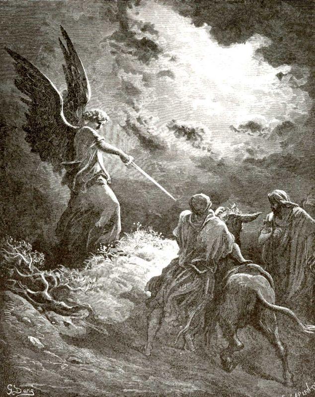 Поль Гюстав Доре. Иллюстрация к Библии: ангел Господень удерживает Валаама