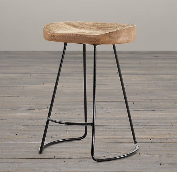 "1950s Tractor Dining Stool | Restoration Hardware - it says ""dining"" stool, but it should say ""counter"" stool, since it would be too high to use at the dining table.  Simple and style neutral. $149"