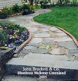 blue stone walkway greenland walkway ideaspatio - Patio Walkway Ideas
