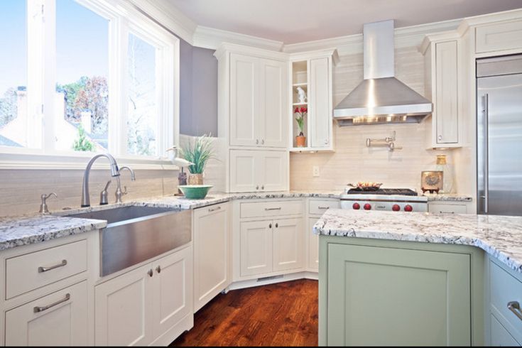 Stainless steel farmhouse sink white cabinets with the for Colored stainless steel sinks