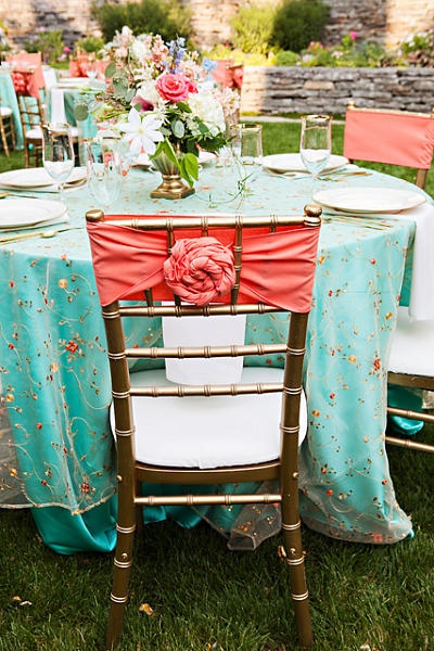 Vintage wedding coral and tiffany blue!:: retro wedding pallette:: Vintage wedding reception decor