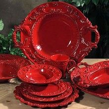 Intrada Baroque Red Dinnerware Collection a bold red on handmade Italian ceramic plates and dishes & 519 best Dishes~China~Pottery images on Pinterest | Polish pottery ...