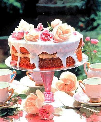 Rosey, unfrosted, iced cake