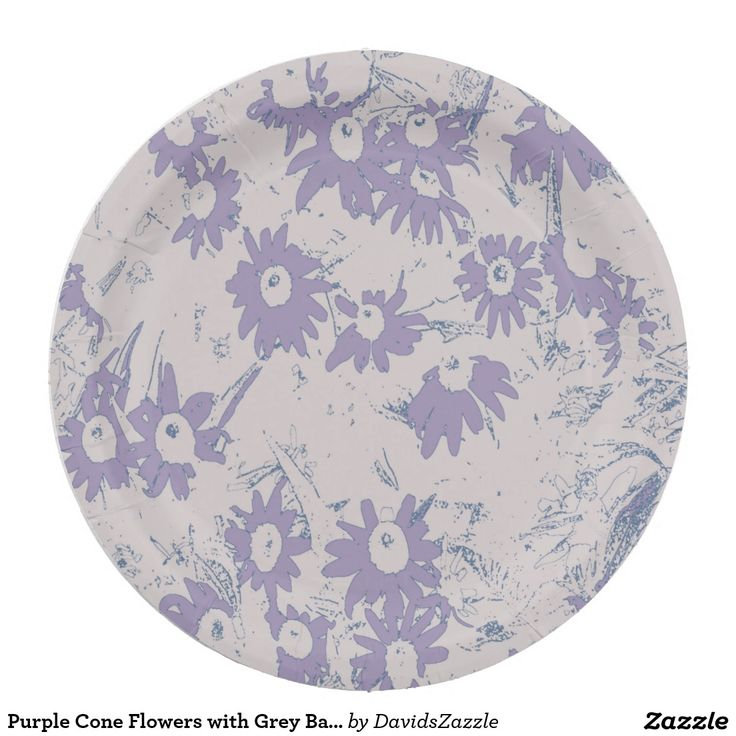 Purple Cone Flowers with Grey Background Paper Plate  Available on more products, type in the name of this design in the search bar on my products page to view them all!  #cone #daisy #shasta #calendula #floral #flower #purple #grey #blue #pattern #print #all #over #abstract #plant #nature #earth #life #style #lifestyle #chic #modern #contemporary #home #decor #kitchen #dining