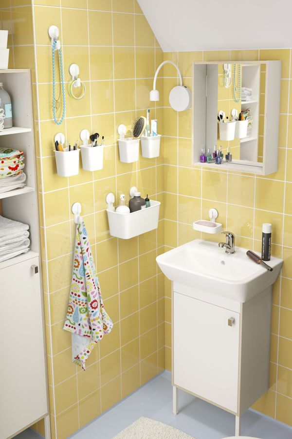 IKEA TYNGEN bathroom furniture pulls double duty to make your life a little more organized. The mirror has a storage shelf while the high cabinet combines open and closed storage so you can keep some things easy-to-reach and others tucked away.