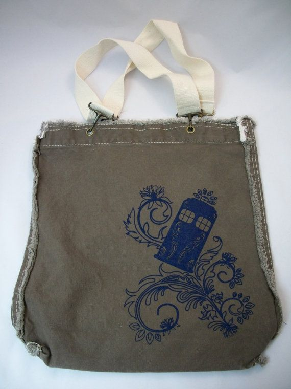 Henna Police Box Raggedy Edge Brown Canvas Shoulder by Geekiana, $24.00