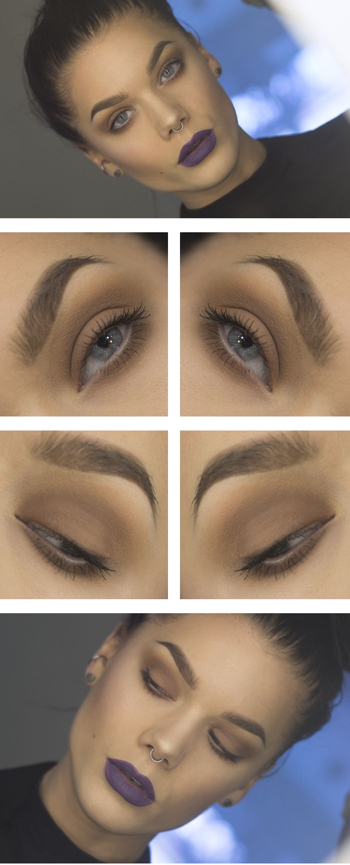 Brown (one colour) smokey eye with coordinating purple lips - gorgeous 90s style updated for now...x