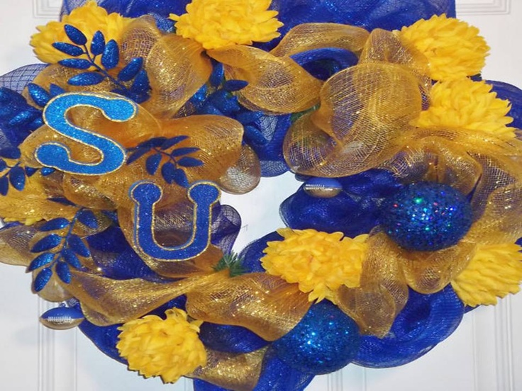 Southern University Jags Blue n Gold Deco Mesh Wreath with ...