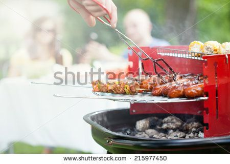 Horizontal view of grilling in a garden - stock photo