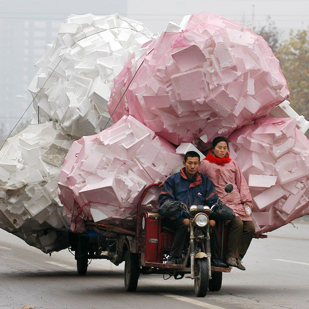 China's overloaded delivery vehicles: trucks, scooters, bikes and motor tricycles - Telegraph