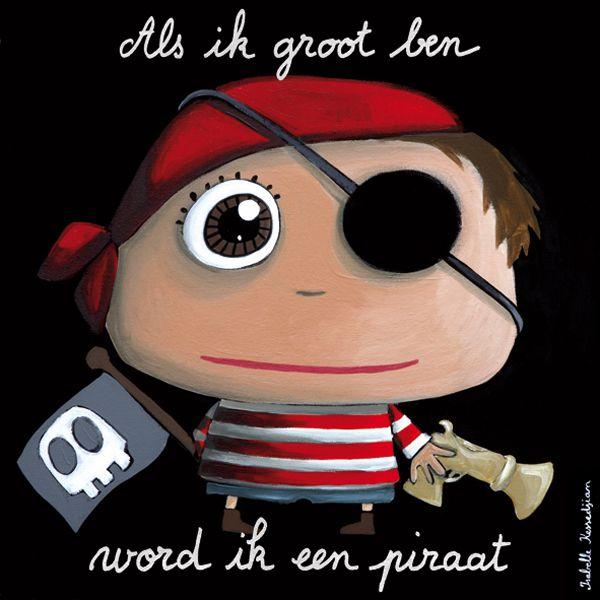 Kinderschilderij Canvas Piraat 50x50