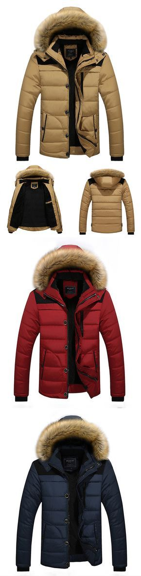 Winter Outfit: Casual & Outdoor Warm Furry Hooded Jacket Coat for Men
