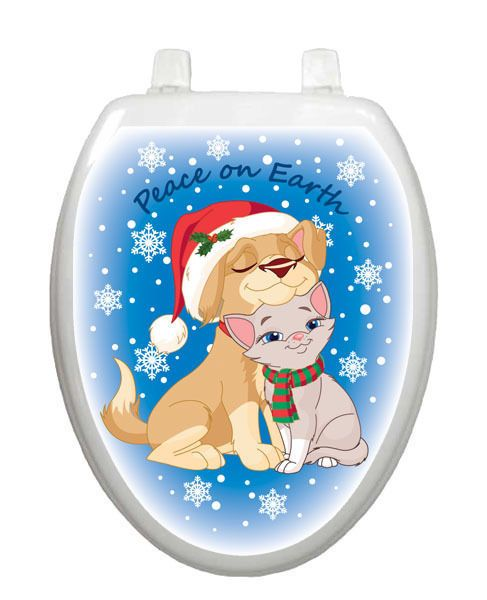 Cat Toilet Seat Covers | Toilet Tattoos Christmas Peace on Earth Seat Cover…