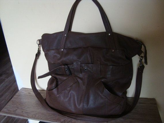 Medium-sized bag with brown leather/// recycled by BagsBand