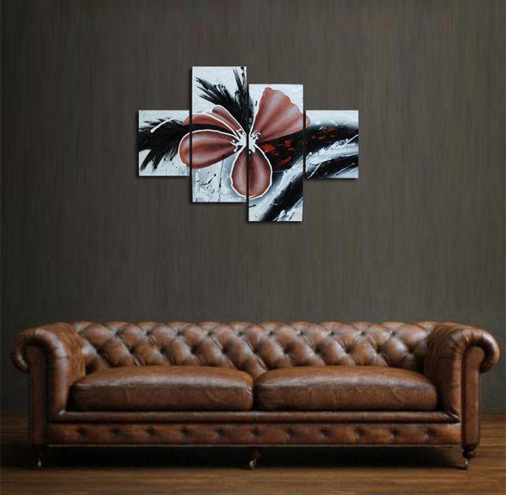 Lukisan Bunga Abstrak Nuansa Coklat