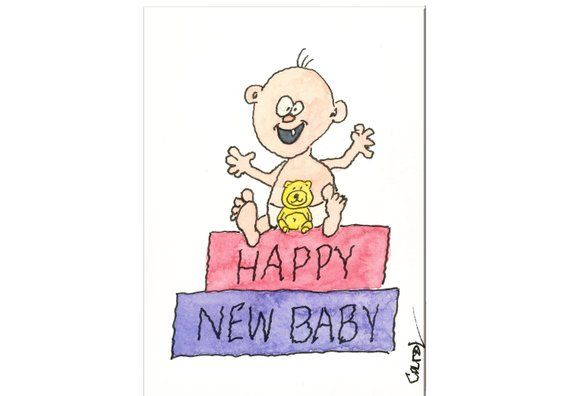 Funny Baby Card Happy Handcrafted Blank Greeting Card 13 Happy