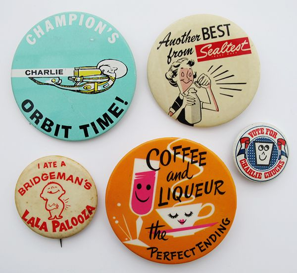 Midcentury Illustrated Advertising Buttons - could make a nice color palette