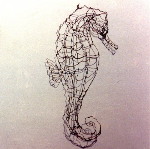 SeahorseWire Drawing Sculpture art by sugarsusan on Etsy, $68.00