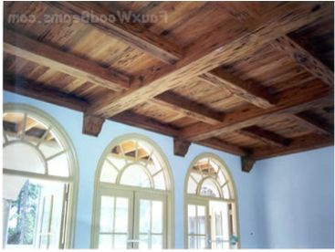 how to create wood look for drop ceilng | Ceiling panels and faux wood beams make a beautiful combination